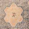 A detailed center flower picture of the rare antique 17th century chinese ningxia carpet #70071 from Nazmiyal Antique Rugs NYC