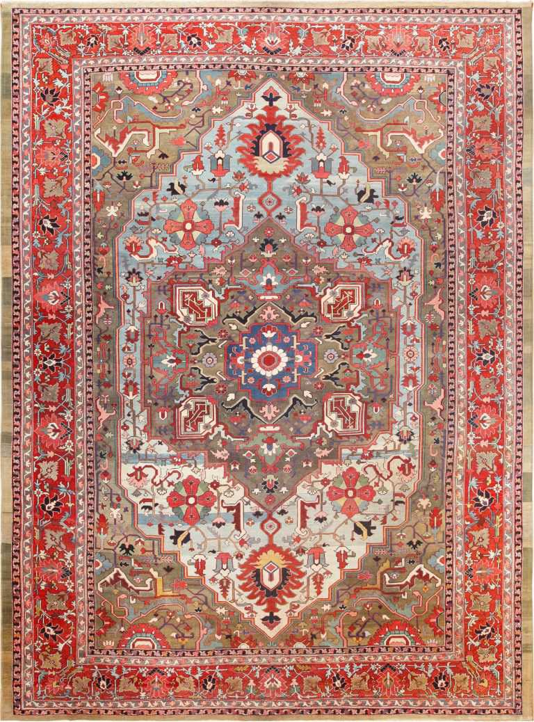 Picture of a Spectacular Large Jewel Tone Antique Persian Heriz Serapi Rug #49993 from Nazmiyal Antique Rugs in NYC