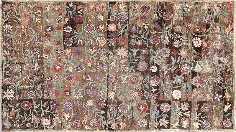 Picture of the puzzling rug that was mentioned in Barron's by Nazmiyal antique rugs NYC