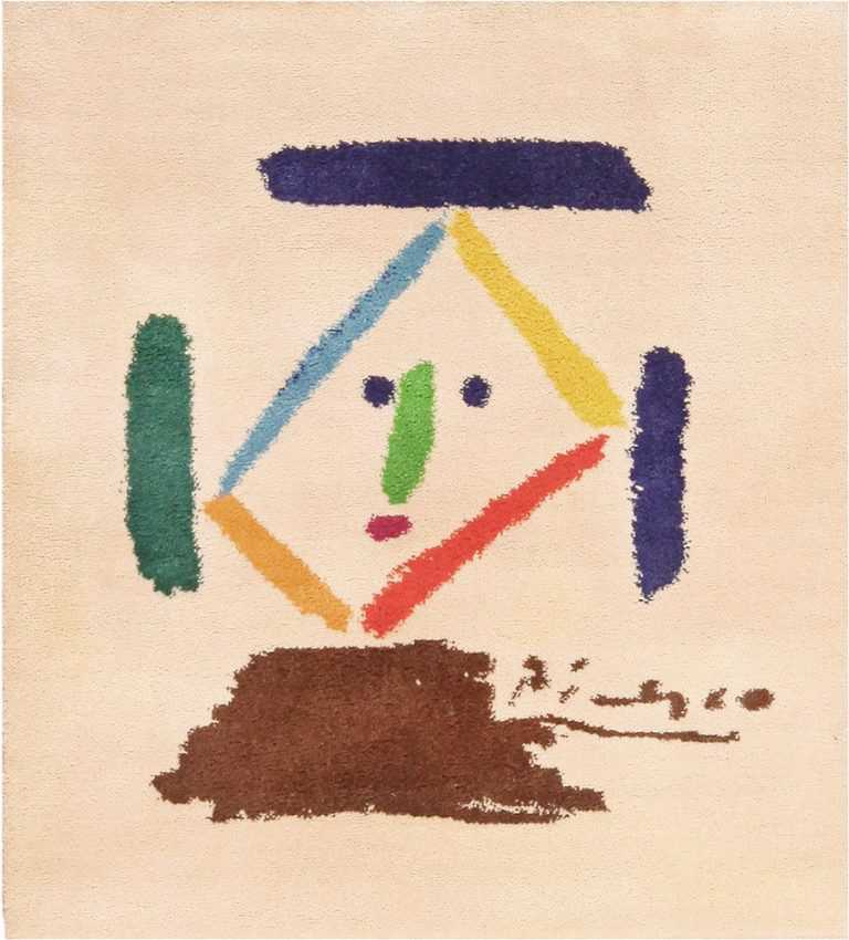 Picture of Square Vintage Picasso Art Rug #70065 from Nazmiyal Antique Rugs in NYC