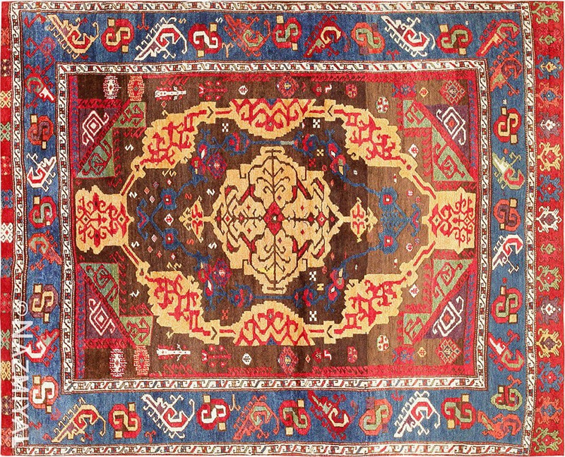 Photo of antique James Barron rug mentioned in Barron's magazine from Nazmiyal antique rugs NYC