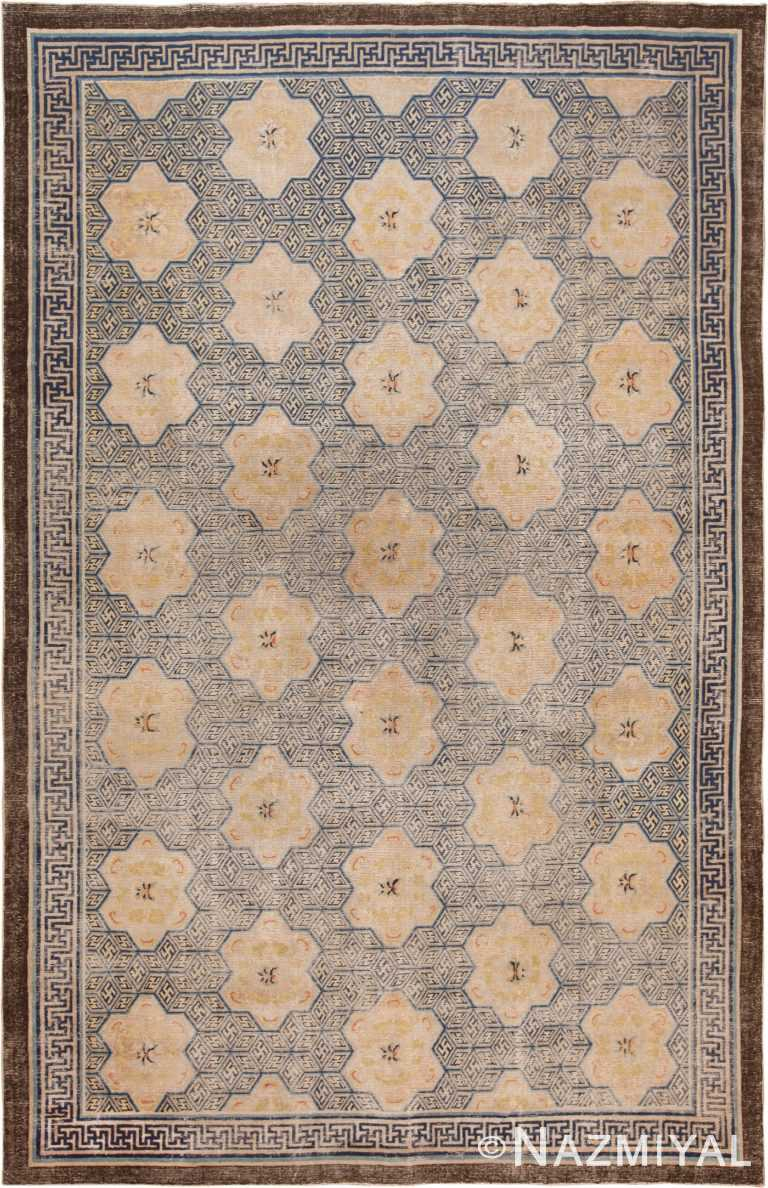 Picture of an extremely rare and collectible antique 17th century Chinese Ningxia carpet #70071 from Nazmiyal Antique Rugs in NYC