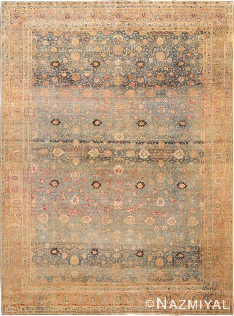 Picture of a magnificent Antique Sky Blue Persian Tabriz Rug #70070 from the collection of Nazmiyal Antique Rugs in NYC