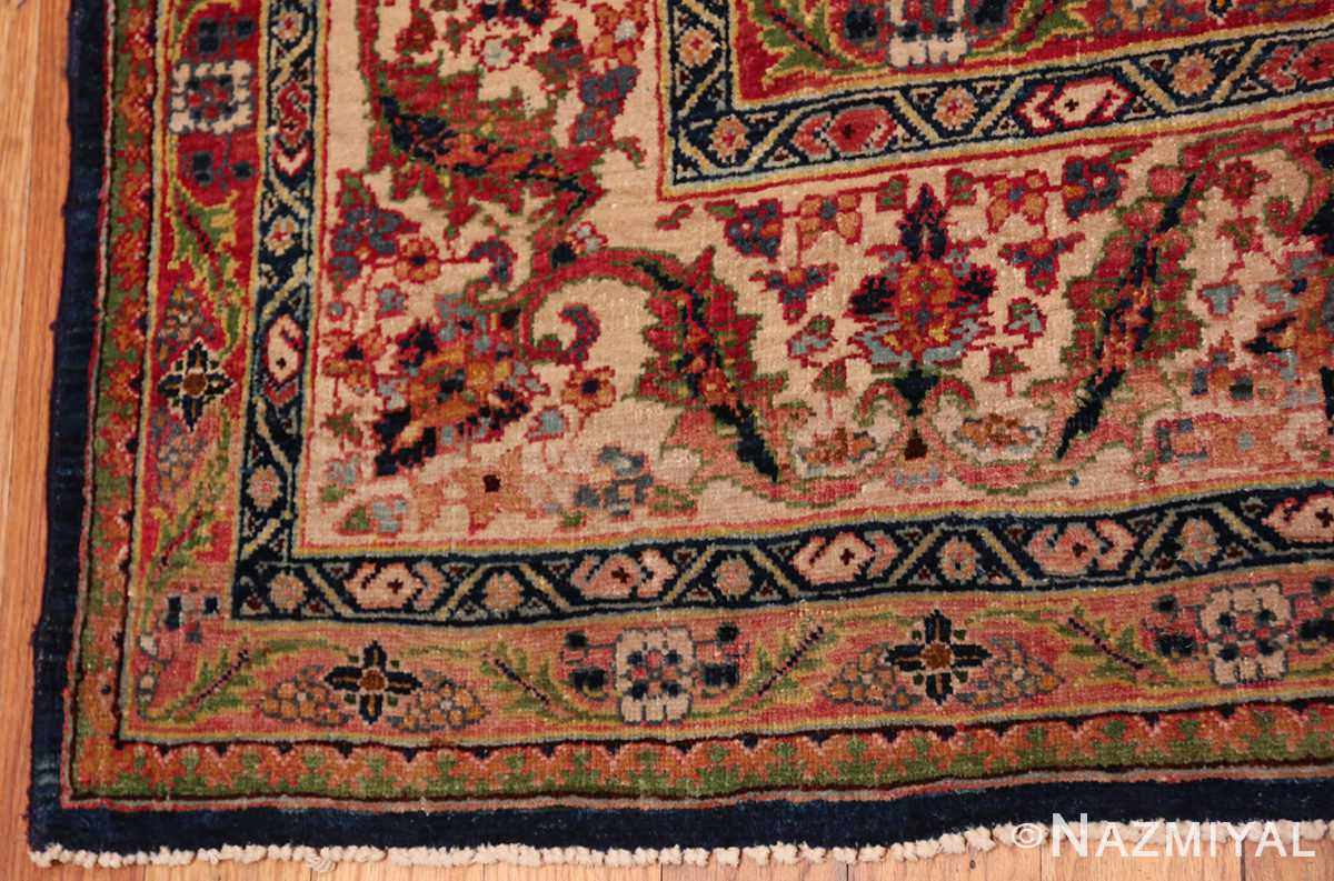 A border picture of antique blue background persian bidjar carpet #47411 from Nazmiyal Antique Rugs NYC