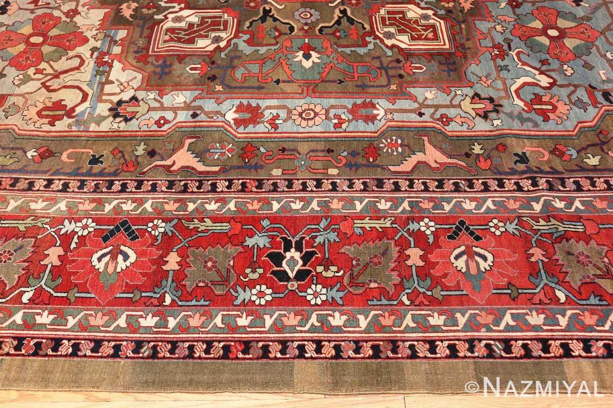 Border Large Jewel Tone Antique Persian Heriw Serapi rug 49993 by Nazmiyal