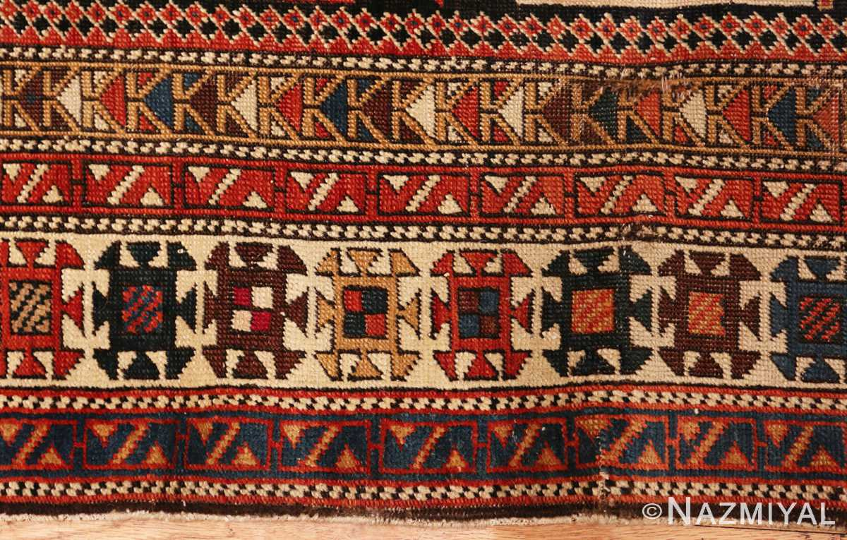 Picture of the border of antique Caucasian Shirvan rug #70076 from Nazmiyal Antique Rugs in NYC