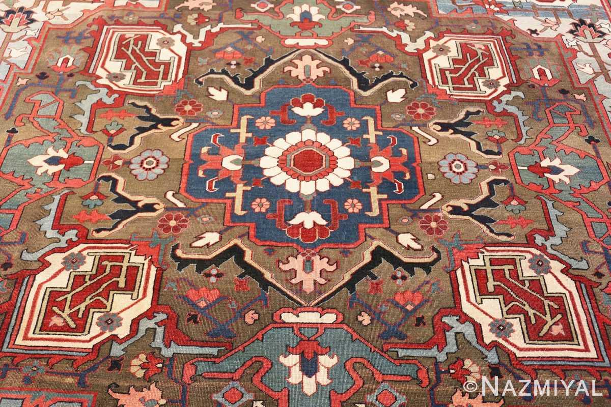 Center Large Jewel Tone Antique Persian Heriw Serapi rug 49993 by Nazmiyal