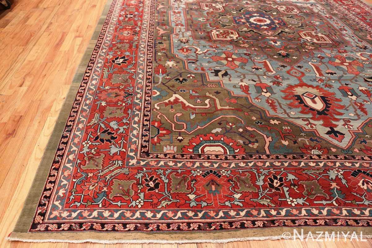 Corner Large Jewel Tone Antique Persian Heriw Serapi rug 49993 by Nazmiyal
