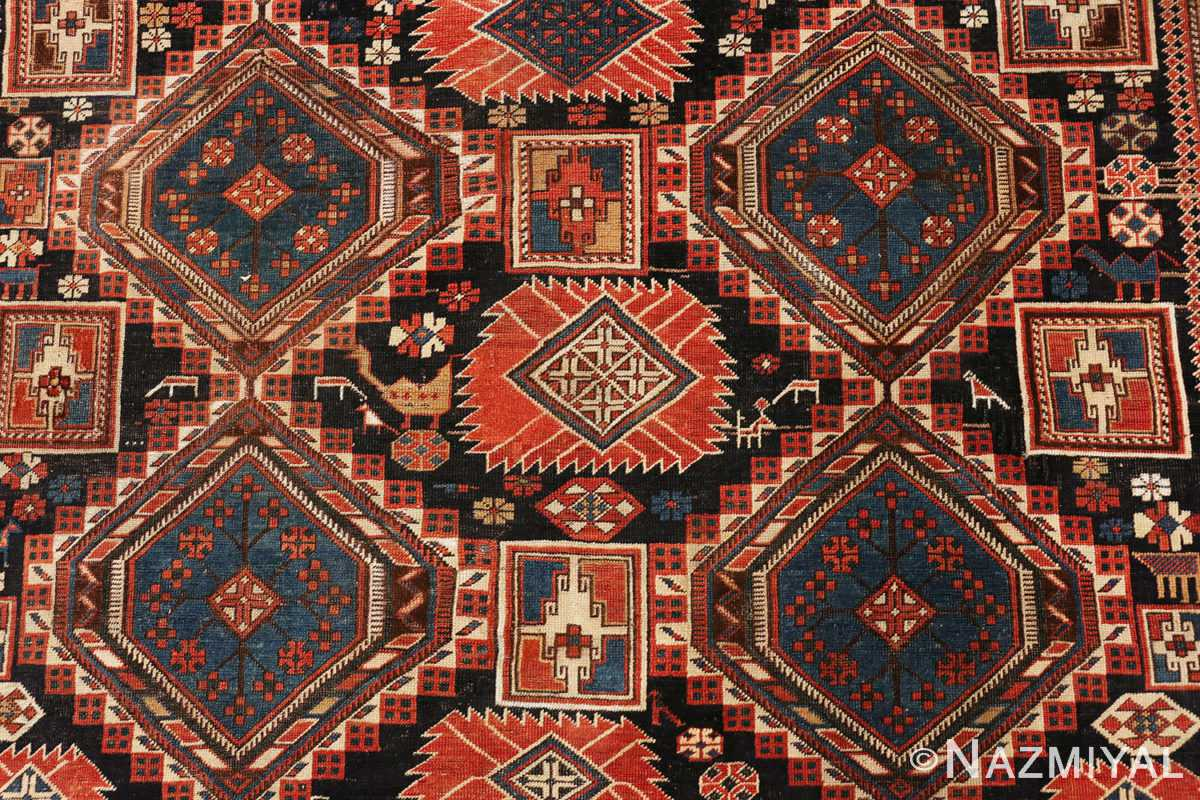 Detail picture of the animal print on antique Caucasian Shirvan rug #70076 from Nazmiyal Antique Rugs in NYC