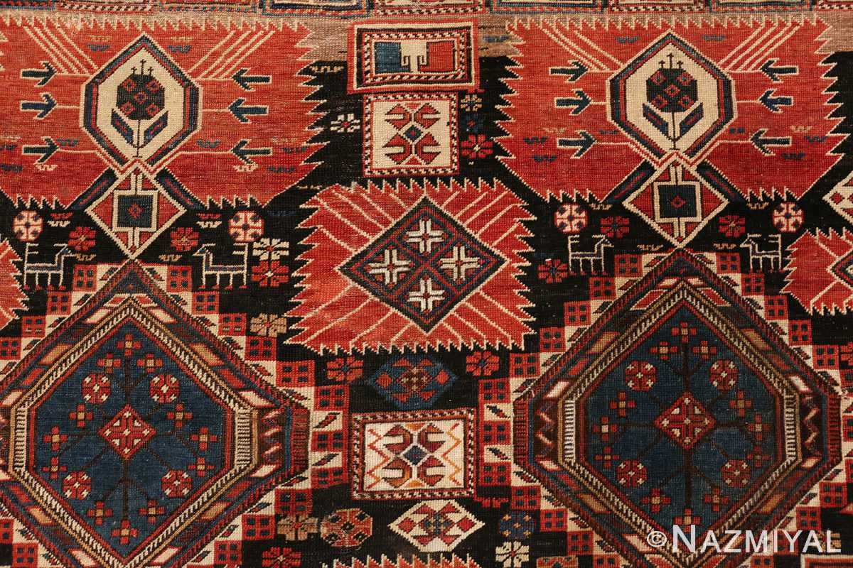 Detail picture of deer print on antique Caucasian Shirvan rug #70076 from Nazmiyal Antique Rugs in NYC