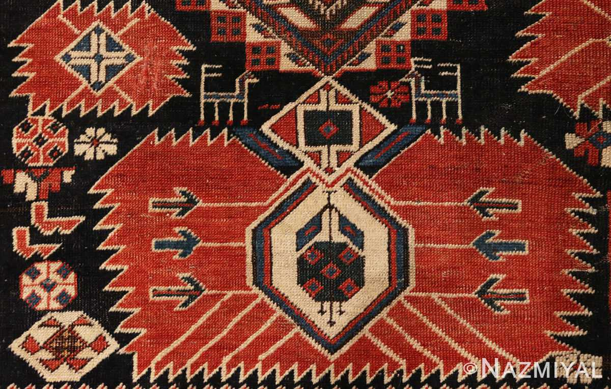 Center detail picture of antique Caucasian Shirvan rug #70076 from Nazmiyal Antique Rugs in NYC