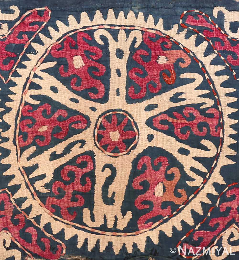 Detail Antique Kaitag embroidery Dagestan rug 70086 by Nazmiyal