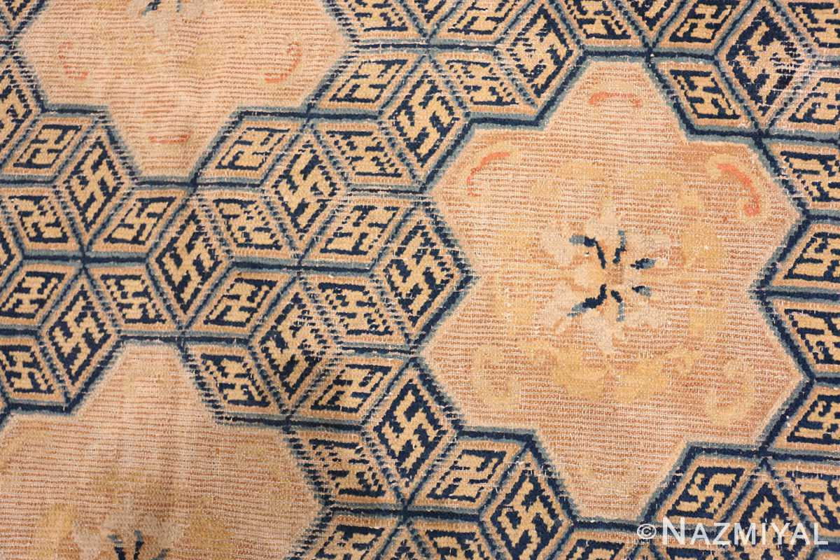 A detail close up picture of the rare antique 17th century chinese ningxia carpet #70071 from Nazmiyal Antique Rugs NYC