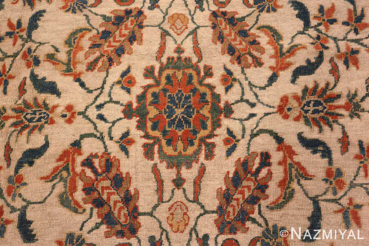 A detailed flower picture of the large ivory background antique persian sultanabad rug #50571 from Nazmiyal Antique Rugs NYC