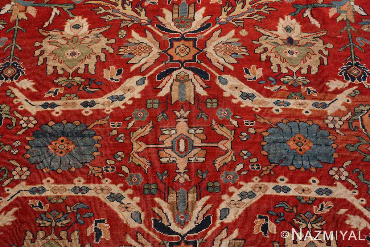 A detailed pattern picture of the antique large scale persian sultanabad carpet #48563 from Nazmiyal Antique Rugs NYC
