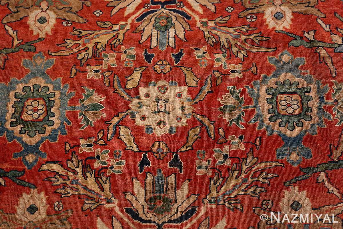 A detailed pattern flower picture of the antique large scale persian sultanabad carpet #48563 from Nazmiyal Antique Rugs NYC