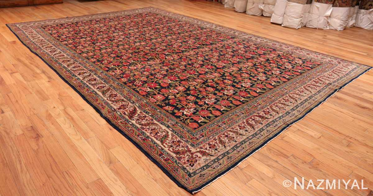 A full picture of antique blue background persian bidjar carpet #47411 from Nazmiyal Antique Rugs NYC