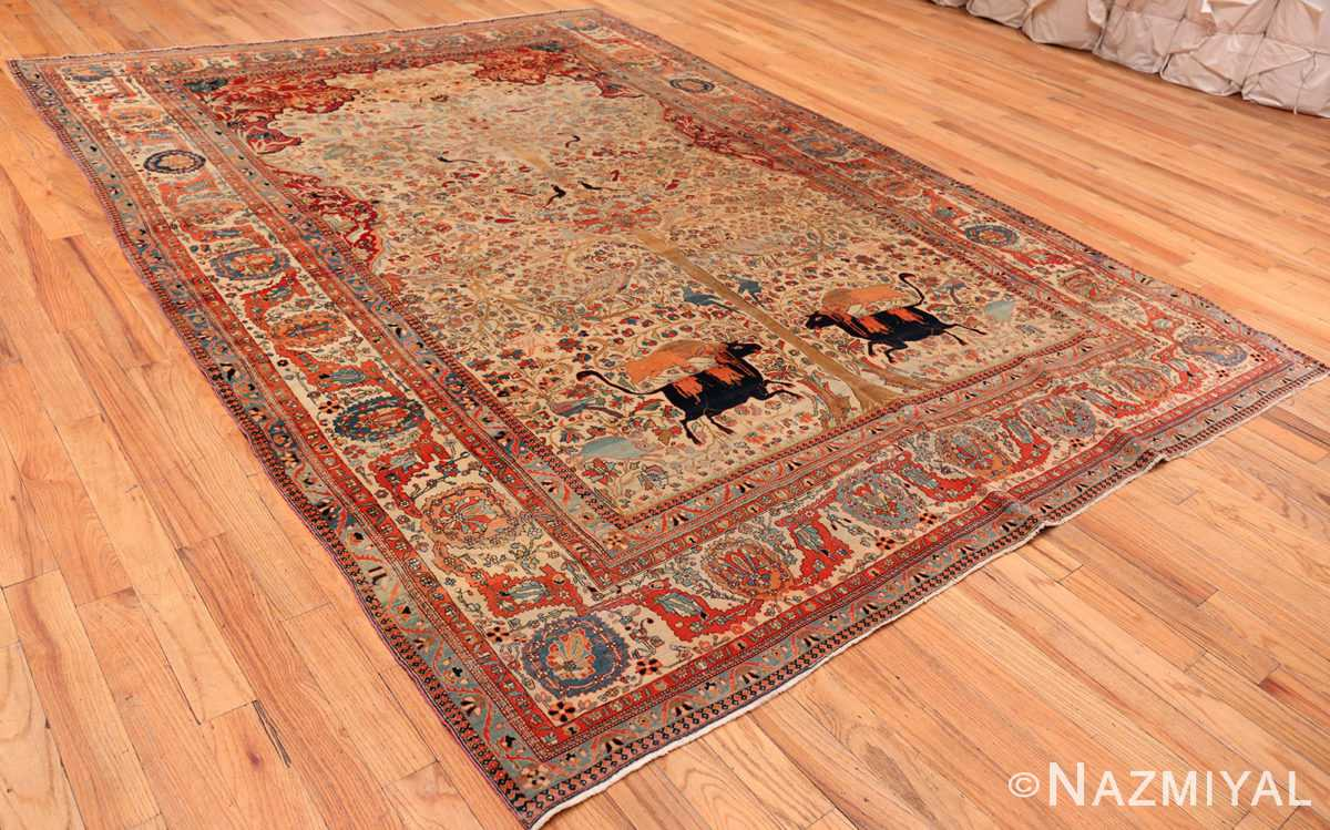 A full picture of the antique tree of life persian mohtashem kashan rug #70069 from Nazmiyal Antique Rugs NYC