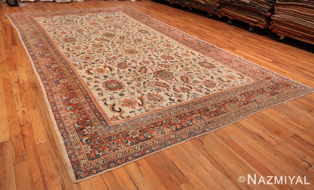 A full picture of the large ivory background antique persian sultanabad rug #50571 from Nazmiyal Antique Rugs NYC