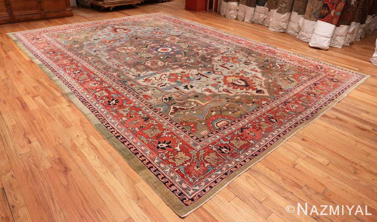 Full Large Jewel Tone Antique Persian Heriw Serapi rug 49993 by Nazmiyal