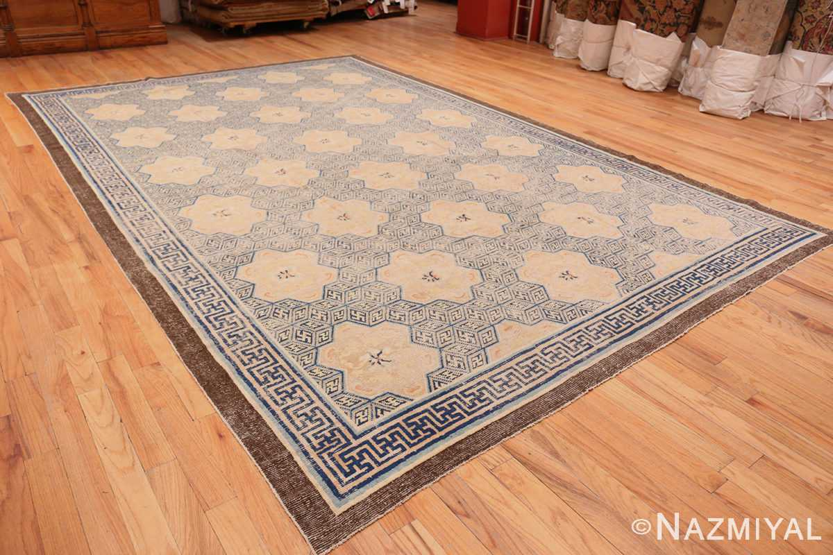 A full picture of the rare antique 17th century chinese ningxia carpet #70071 from Nazmiyal Antique Rugs NYC