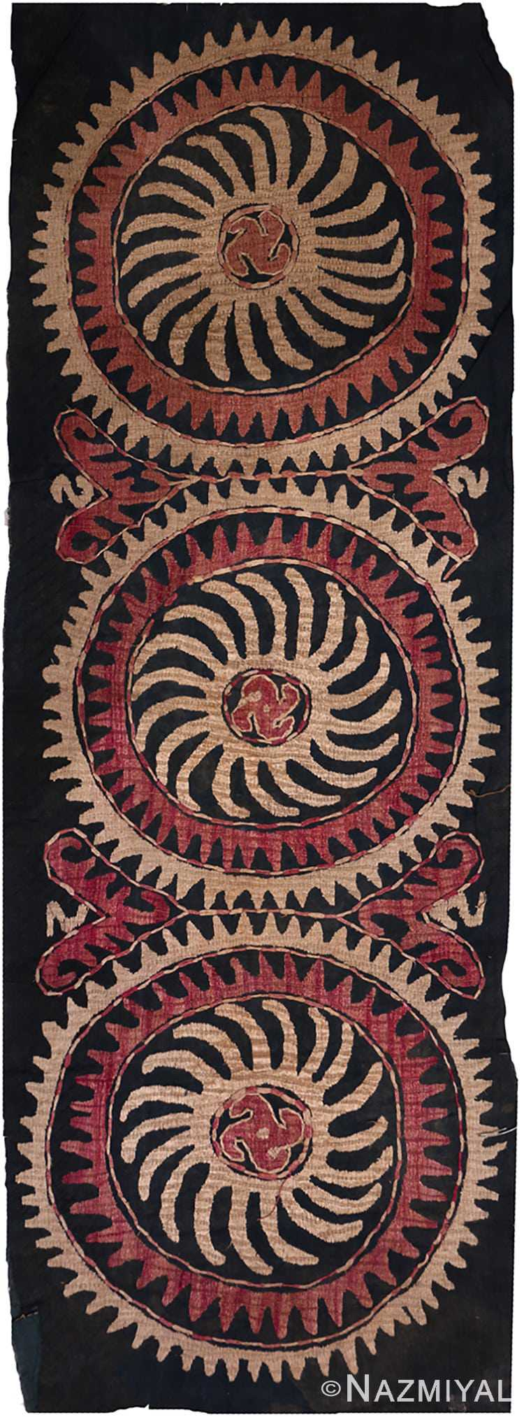 Full view 19th century Kaitag Dagestan embroidery rug 70085 by Nazmiyal in NYC
