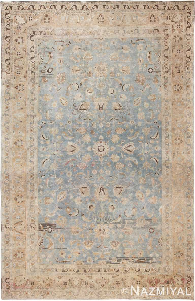 Picture of a Large Antique Light Blue Persian Khorassan Rug 49843 from Nazmiyal Antique Rugs in New York City.