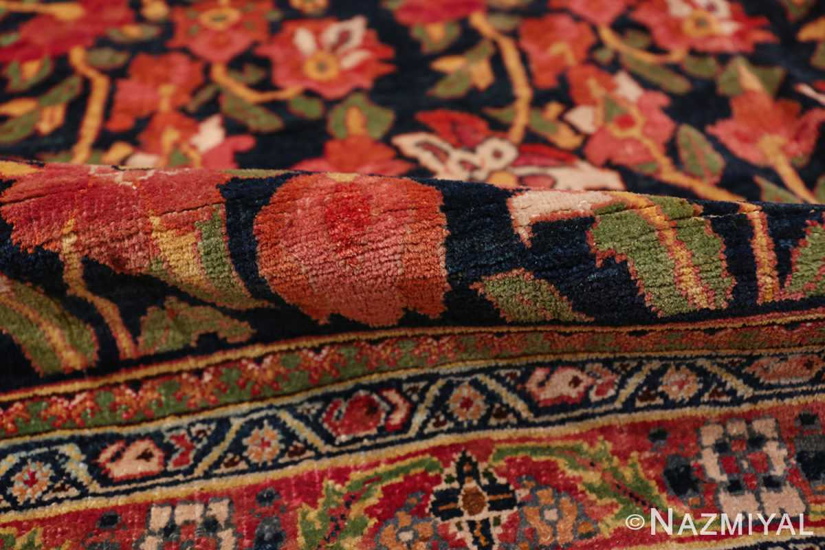 A pile picture of antique blue background persian bidjar carpet #47411 from Nazmiyal Antique Rugs NYC
