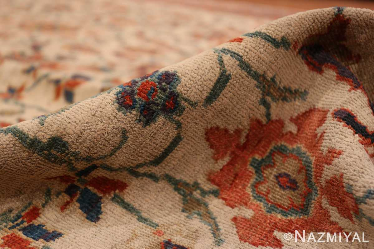A pile picture of the large ivory background antique persian sultanabad rug #50571 from Nazmiyal Antique Rugs NYC