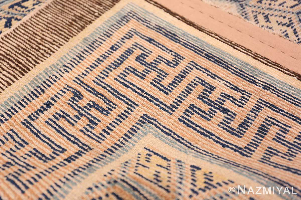 A weave picture of the rare antique 17th century chinese ningxia carpet #70071 from Nazmiyal Antique Rugs NYC