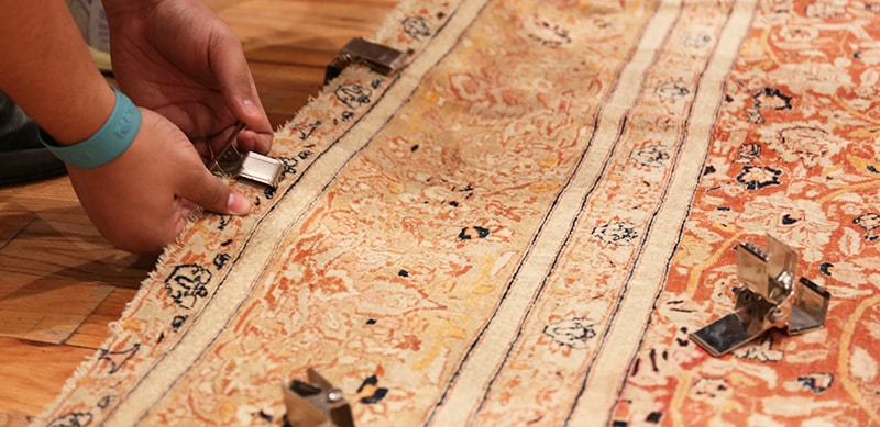 Space Tapestry / Rug Hanging Clips Evenly While On The Floor - Nazmiyal Antique Rugs In NYC