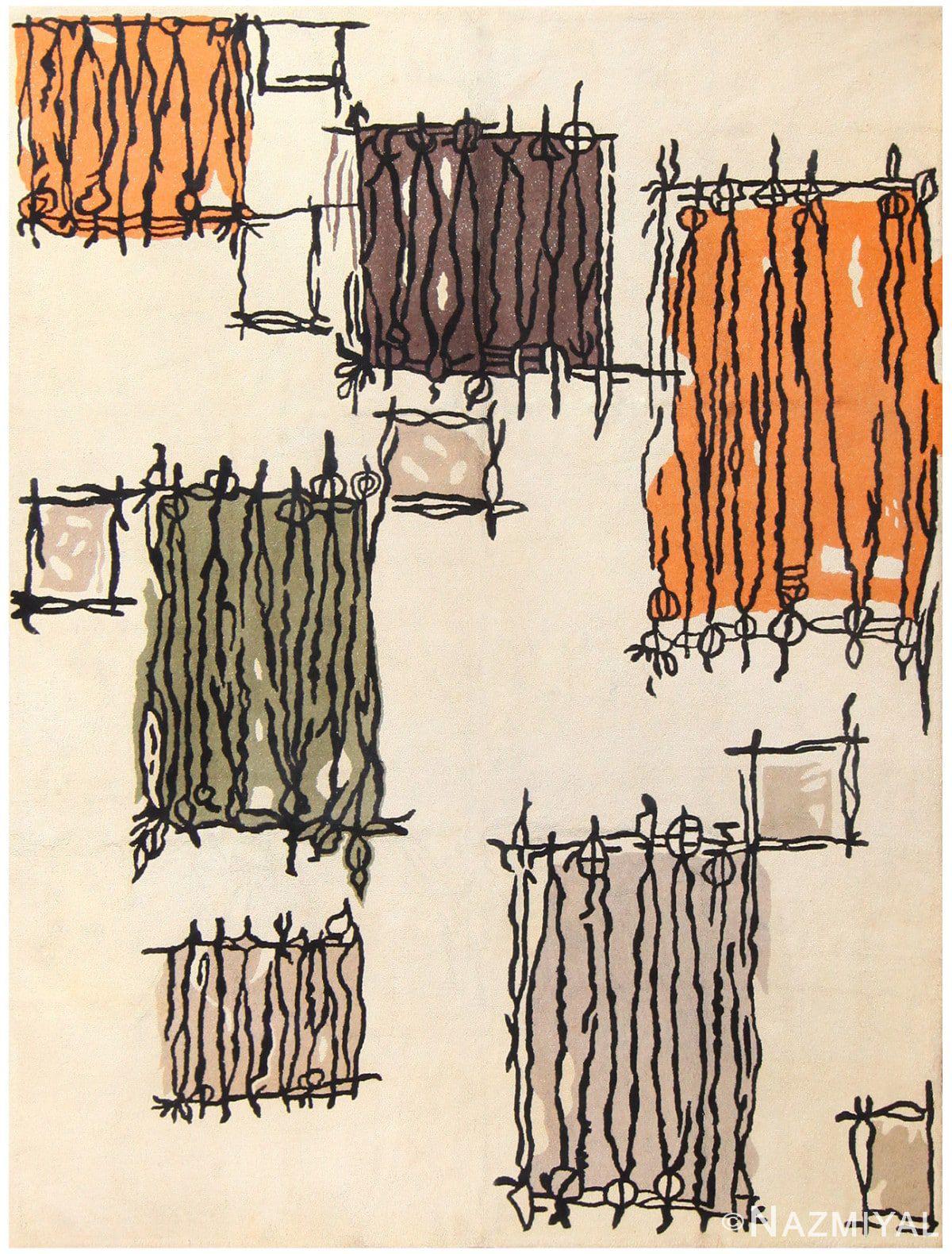 image of geometric vintage hooked rug