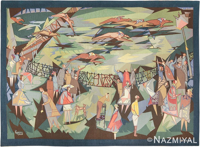 French Vintage Mid Century Horse Racing Tapestry by Lars Gynning - Nazmiyal Antique Rugs in NYC