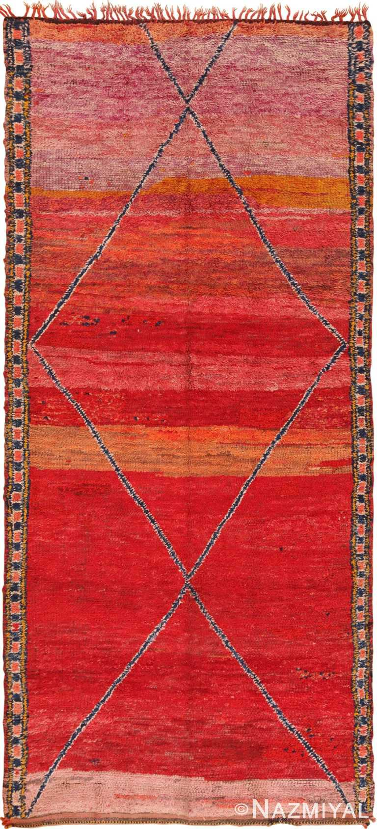 Primitive Vintage Red Moroccan Rug #70089 by Nazmiyal Antique Rugs