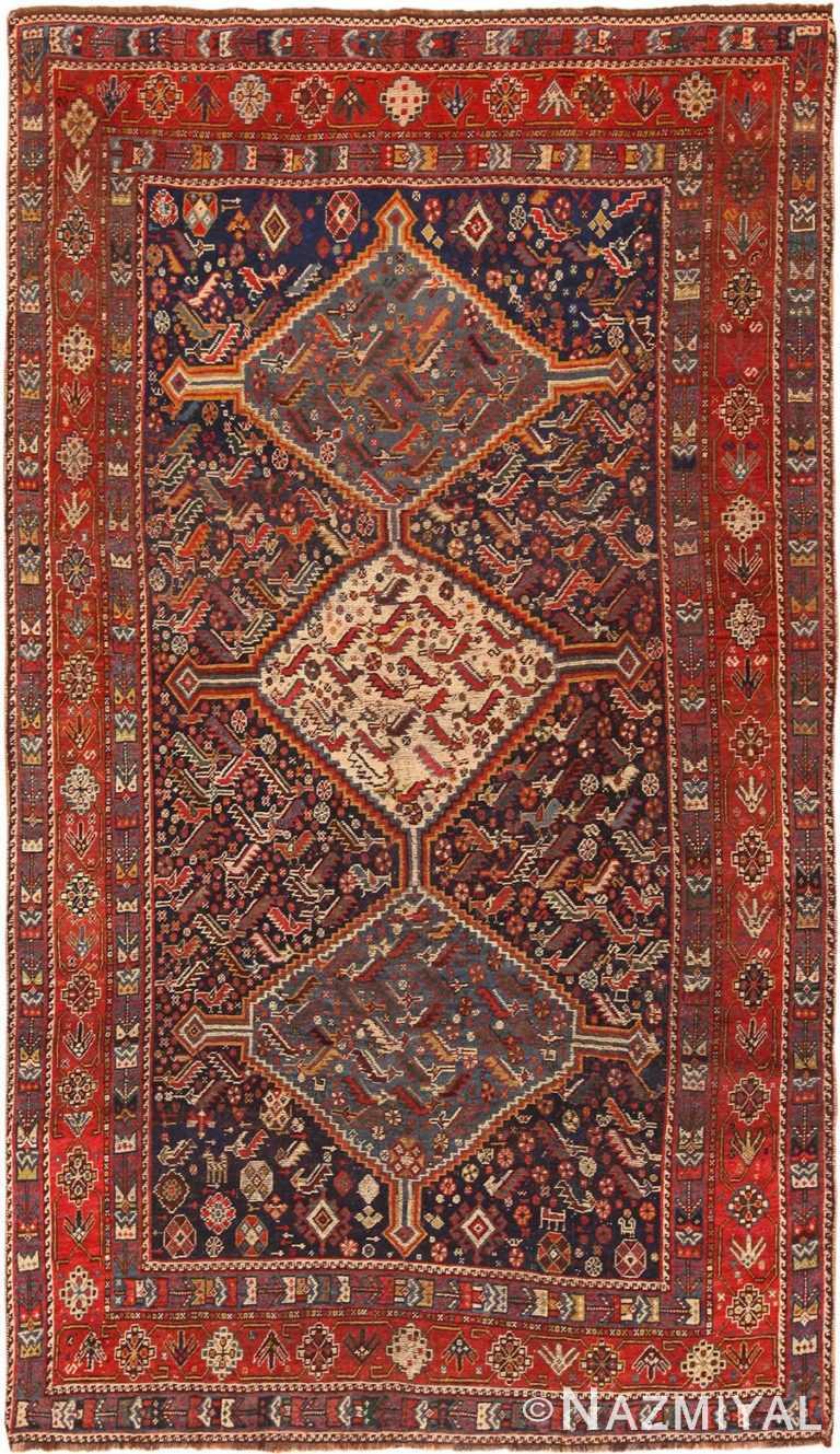 Full view Antique Persian Qashqai bird rug 47537 by Nazmiyal