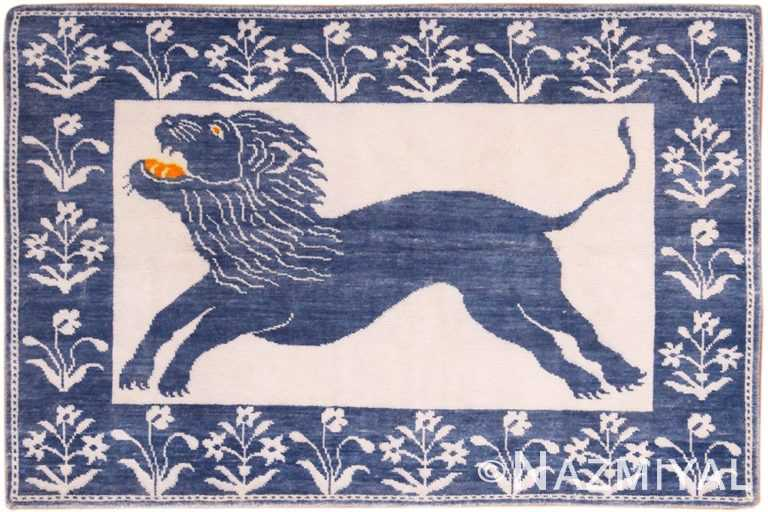 Full view Vintage cotton Agra Lion rug 70098 by Nazmiyal