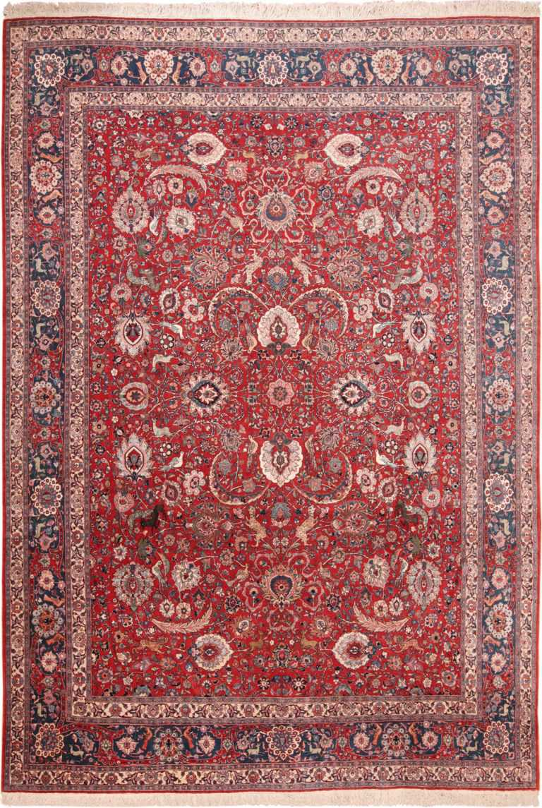 Full view of Antique Persian Silk And Wool Tehran Rug #70135 from Nazmiyal Antique Rugs in NYC