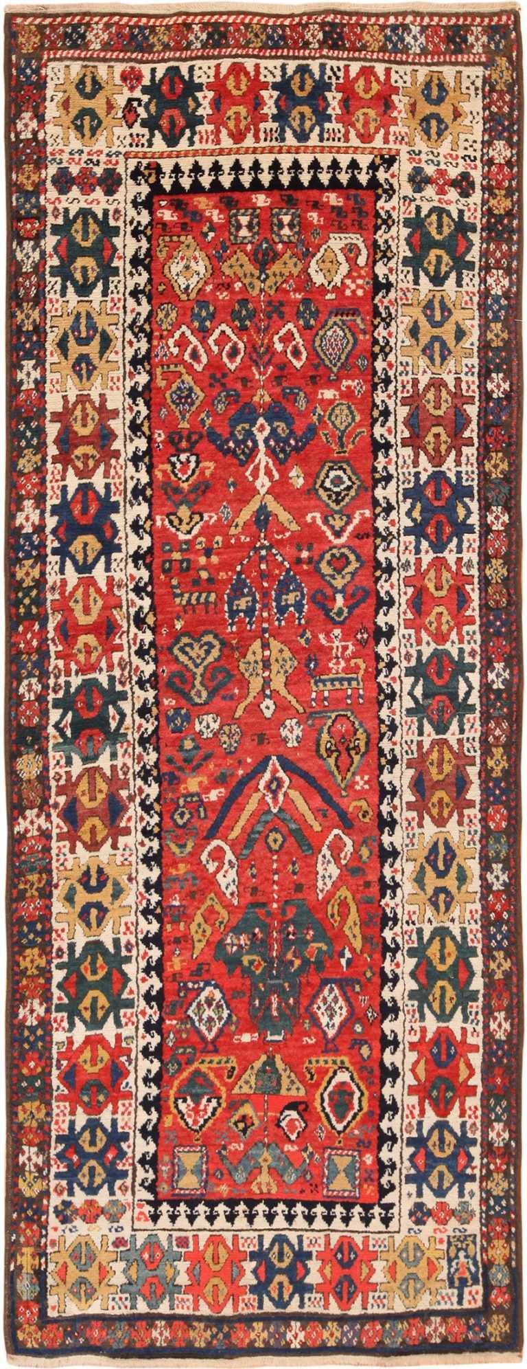 Full view Antique Caucasian Kazak Runner Rug #70122 Nazmiyal Antique Rugs in NYC