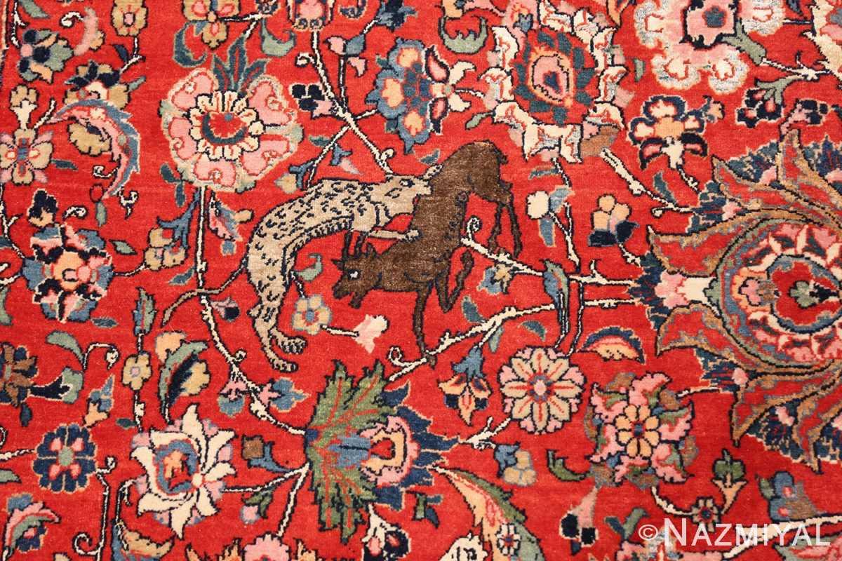 Animal detail Antique floral Persian Tehran rug 70135 by Nazmiyal