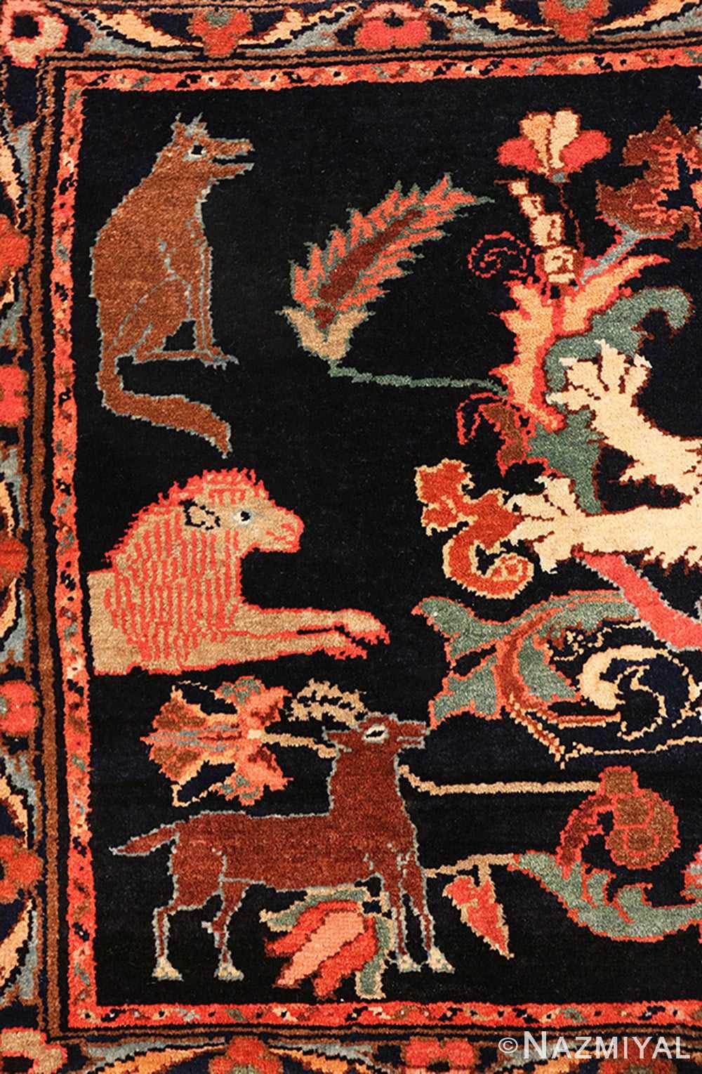 Animal Antique Persian Malayer Animal design rug 70131 by Nazmiyal
