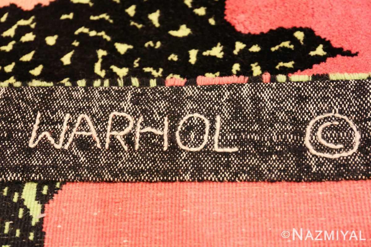 Back signature Vintage Andy Warhol Flowers rug 70138 by Nazmiyal
