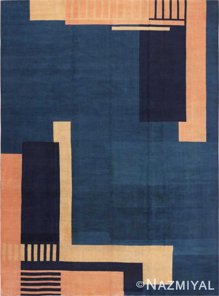 Full Picture of Blue Antique Indian Art Deco Rug #70099 from Nazmiyal Antique Rugs in NYC