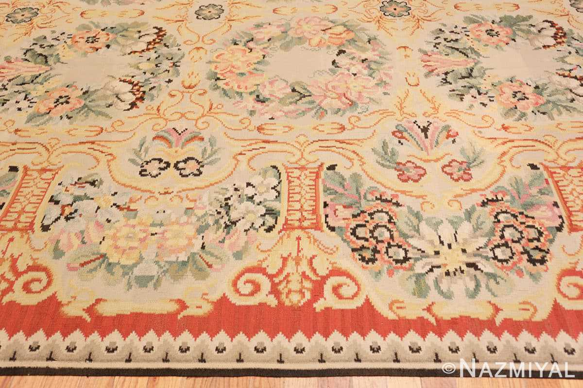 Border Antique Floral Romanian Bessarabian Kilim rug 70101 by Nazmiyal