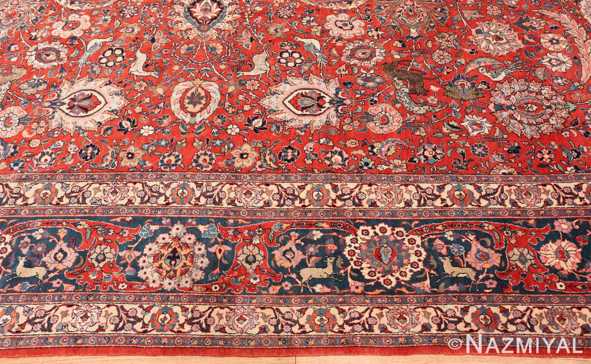 Border Antique floral Persian Tehran rug 70135 by Nazmiyal