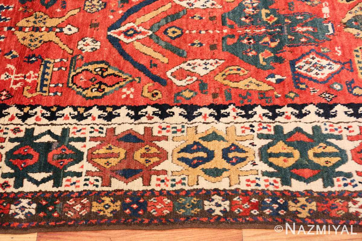 Border Antique Kazak Caucasian rug 70122 by Nazmiyal