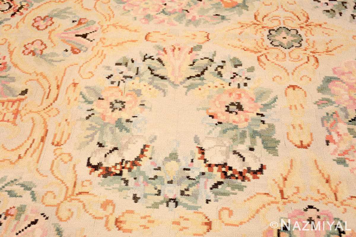 Close-up Antique Floral Romanian Bessarabian Kilim rug 70101 by Nazmiyal
