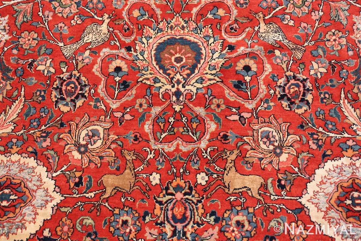Close-up Antique floral Persian Tehran rug 70135 by Nazmiyal