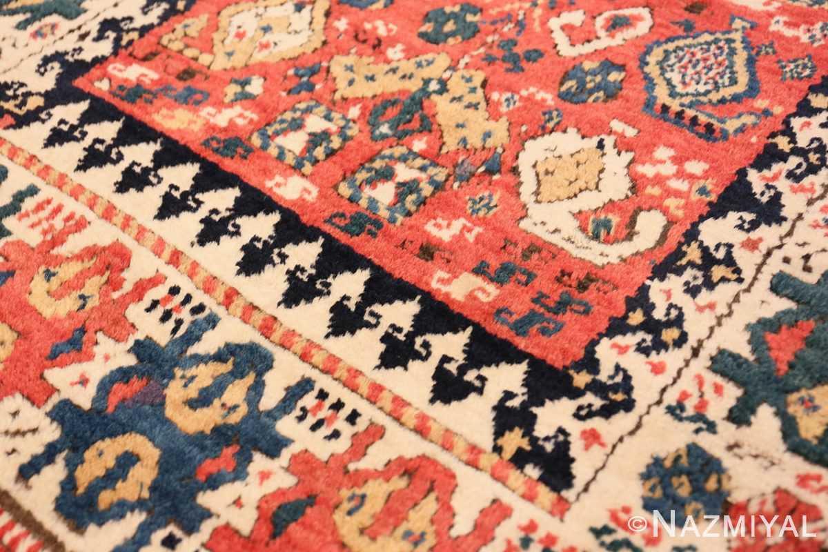 Close-up Antique Kazak Caucasian rug 70122 by Nazmiyal