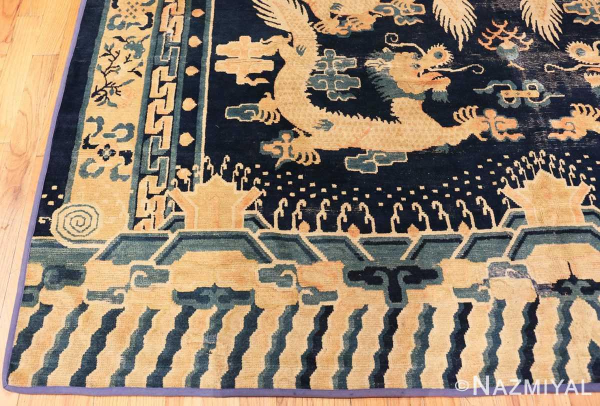 Corner Antique Chinese Dragon Design rug 70126 by Nazmiyal