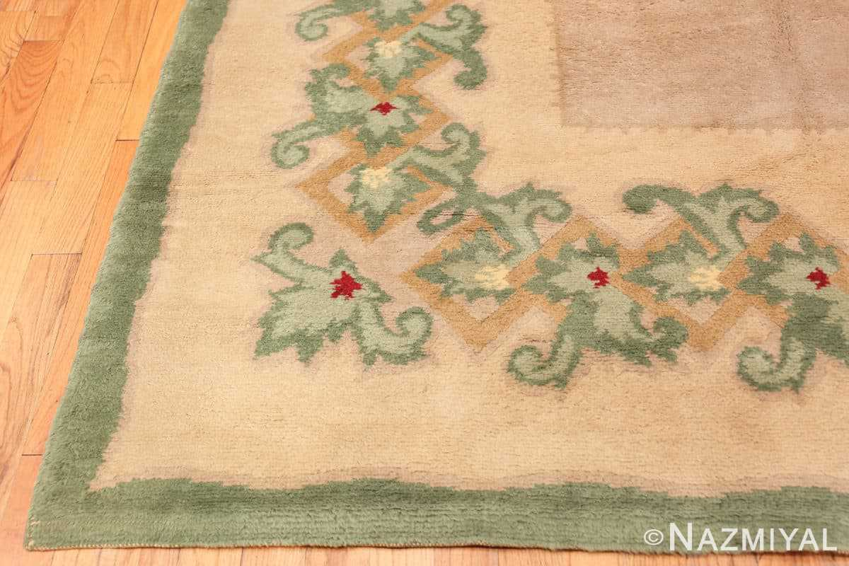 Corner Antique Green French Art Deco rug 70152 designed by Leleu from the Nazmiyal collection